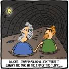 A light...they'd found a light!! But it wasn't the one at the end of the tunnel...